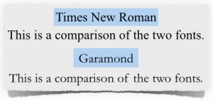 Garamond and Times New Roman Comparison